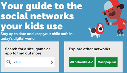 Image from the search page of the NetAware website's Guide To Social Networks Kids Use